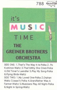 Greiner Bros Orchestra - Vol 5 Its Music Time Re-Issued of Northland 2020